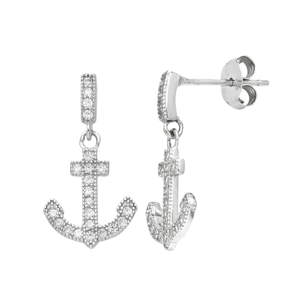 Sterling Silver Cubic Zirconia Anchor Drop Earrings