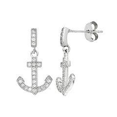 Sterling Silver Cubic Zirconia Anchor Drop Earrings