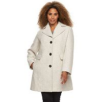 Plus Size Gallery Tweed Wool Blend Coat