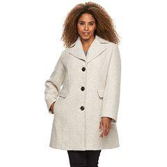 Plus Size Gallery Tweed Wool Blend Coat