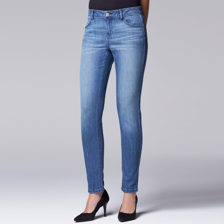 Womens Simply Vera Vera Wang Slimming Skinny Jeans