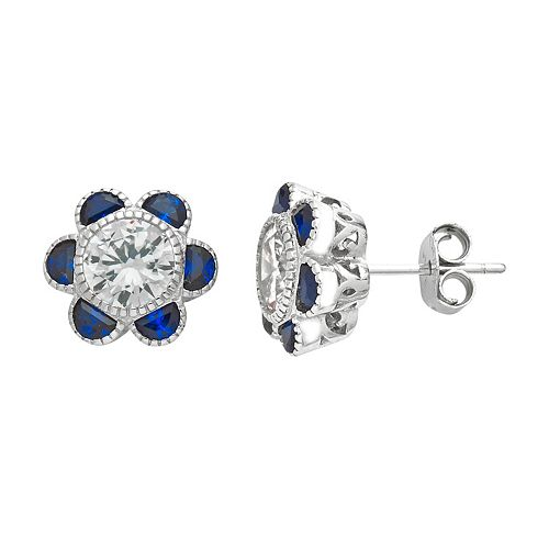 Sterling Silver Cubic Zirconia & Lab-Created Blue Spinel Flower Stud Earrings