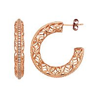 18k Gold Over Silver Cubic Zirconia Lattice Hoop Earrings