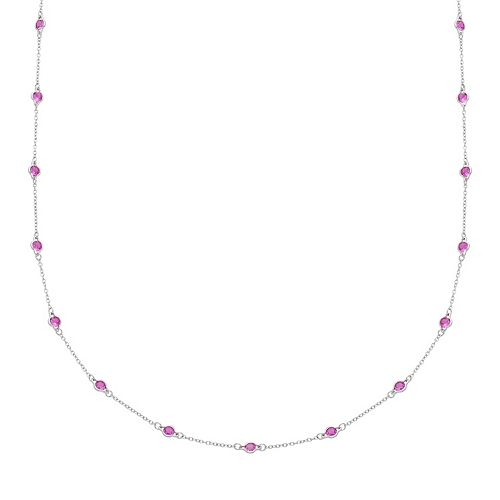 Sterling Silver Lab-Created Pink Sapphire Long Station Necklace