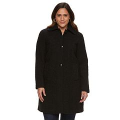 Plus Size Gallery Basketweave Long Wool Blend Coat
