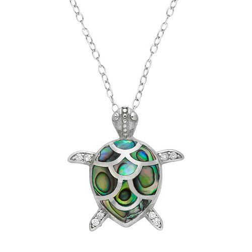 Sterling Silver Abalone & Cubic Zirconia Turtle Pendant Necklace