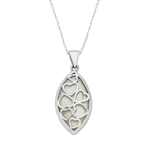 Sterling Silver Mother-of-Pearl Reversible Marquise Pendant Necklace