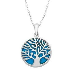 Sterling Silver Simulated Turquoise Reversible Tree of Life Pendant Necklace