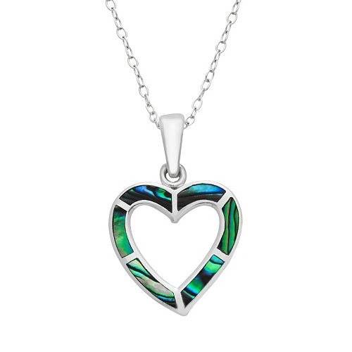 Sterling Silver Abalone Heart Pendant Necklace