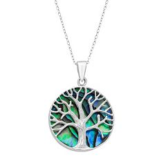 Sterling Silver Abalone Reversible Tree Of Life Pendant Necklace