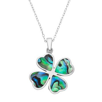Sterling Silver Abalone Heart Four Leaf Clover Pendant Necklace