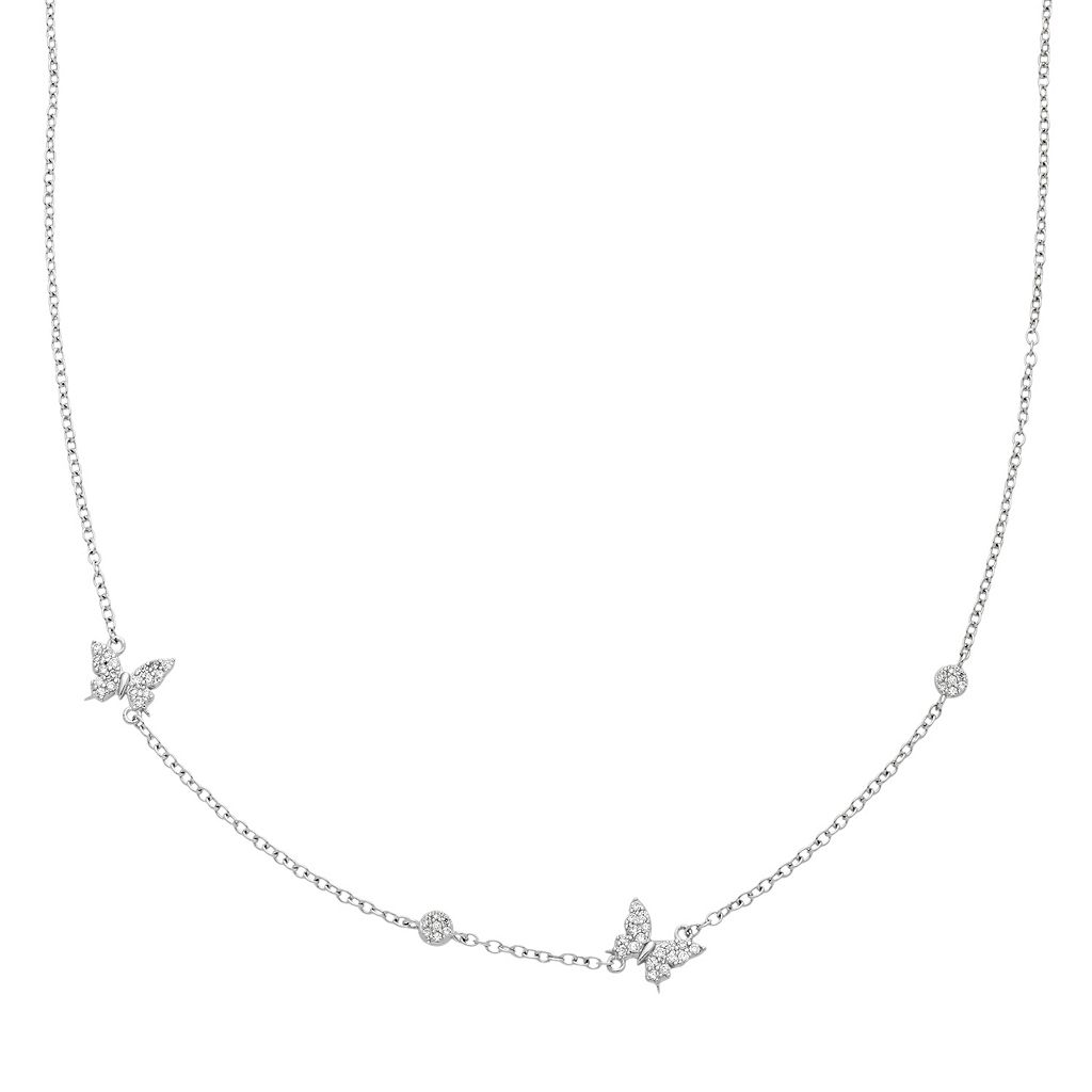 Sterling Silver Cubic Zirconia Butterfly Station Necklace