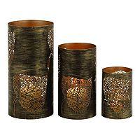 Metal Leaf Hurricane Candle Holder 3-piece Set