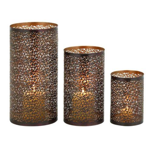 Perforated Metal Lattice Hurricane Candle Holder 3-piece Set
