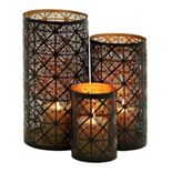 Metal Geometric Lattice Candle Holder 3-piece Set