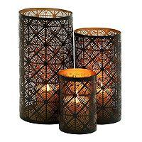 Metal Geometric Lattice Candle Holder 3-piece Set
