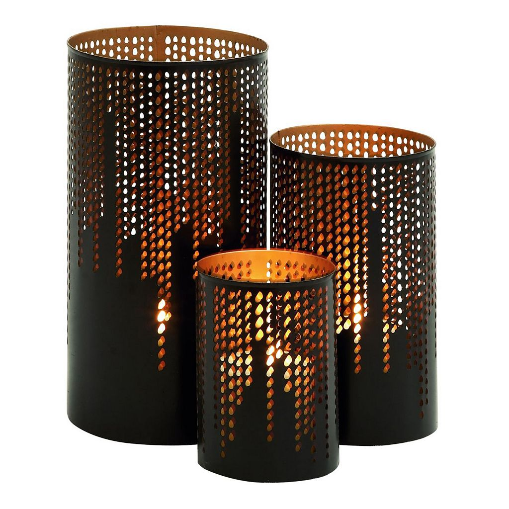Perforated Metal Candle Holder 3-piece Set