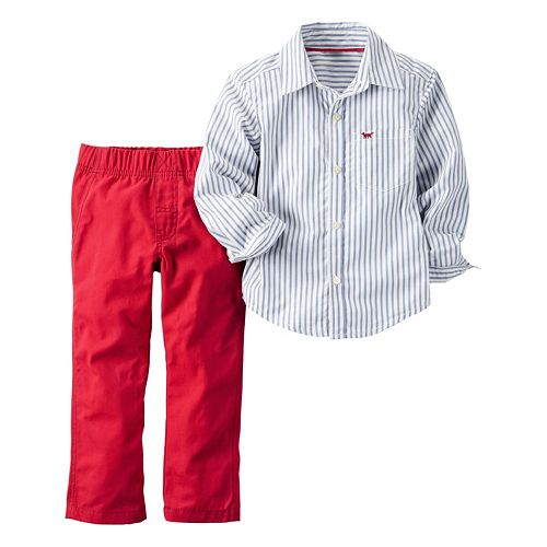 Baby Boy Carter's Striped Shirt & Twill Pants Set