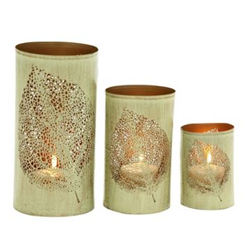 Elm Leaf Metal Candle Holder 3-piece Set
