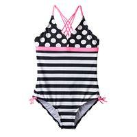 Girls Plus Size SO® Polka-Dots & Stripes Braided Strap One-Piece Swimsuit