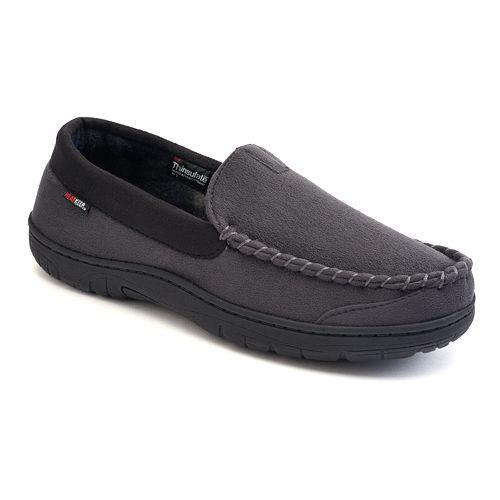 Heatcore Indoor Outdoor Slippers Mens 8-9 Grey Gray Thinsulate Memory Foam New