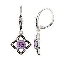 Silver Luxuries Cubic Zirconia & Marcasite Openwork Star Drop Earrings
