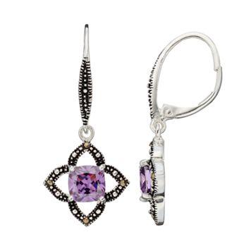 Silver Luxuries Cubic Zirconia & Marcasite Openwork Star Drop Earrings