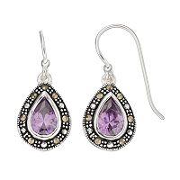 Silver Luxuries Cubic Zirconia & Marcasite Teardrop Earrings