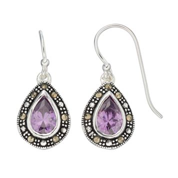 Silver Luxuries Cubic Zirconia & Marcasite Teardrop Earrings