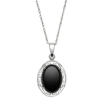 Sterling Silver Onyx Greek Key Oval Pendant Necklace