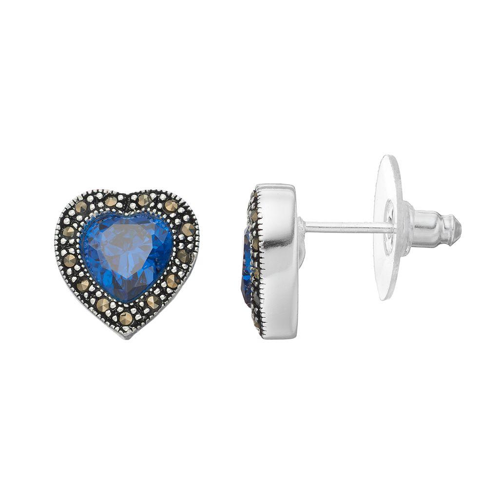 Silver Luxuries Cubic Zirconia & Marcasite Heart Stud Earrings
