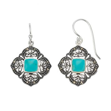 Silver Luxuries Simulated Turquoise & Marcasite Filigree Square Drop Earrings