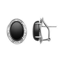 Sterling Silver Onyx Greek Key Oval Drop Earrings