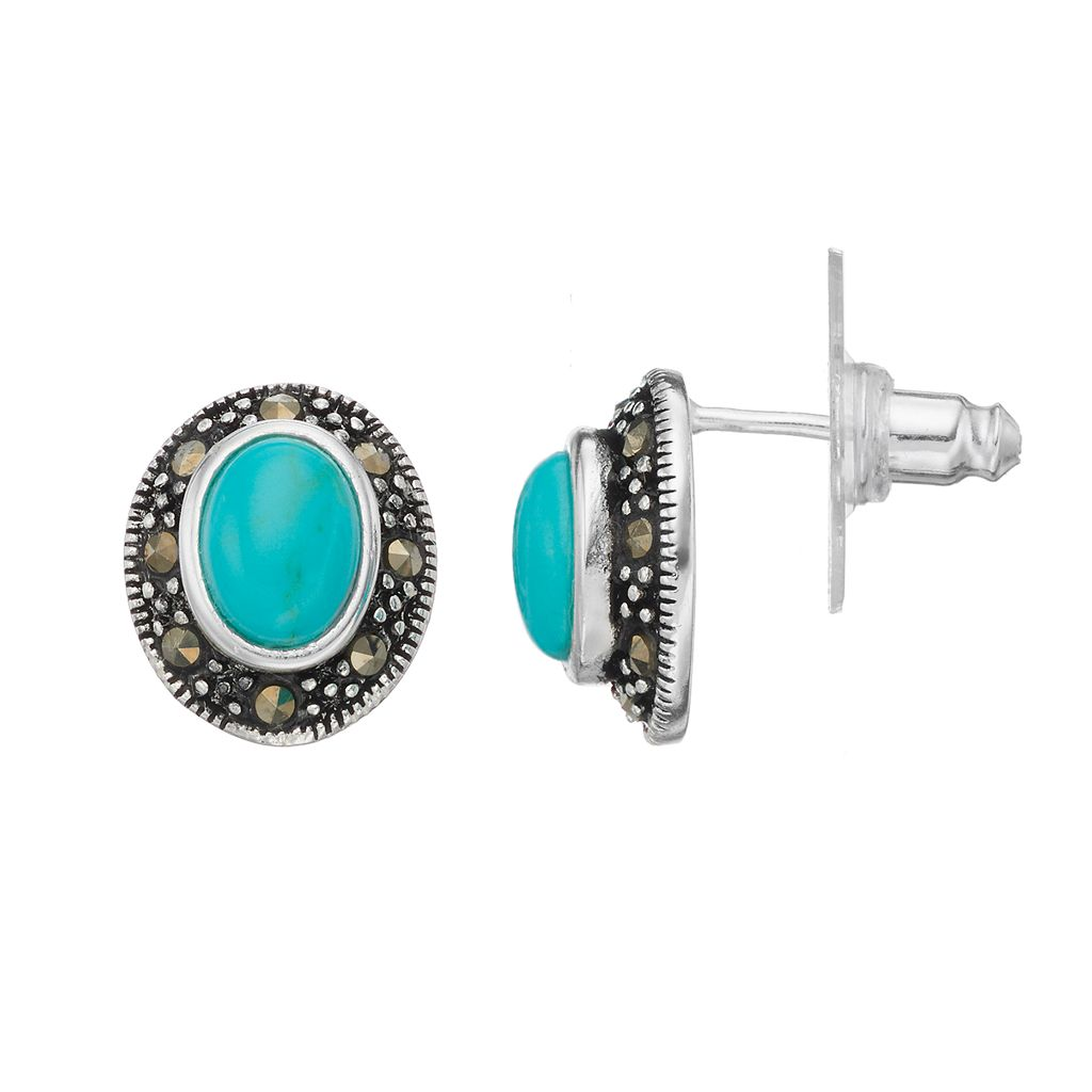 Silver Luxuries Simulated Turquoise & Marcasite Oval Halo Drop Earrings
