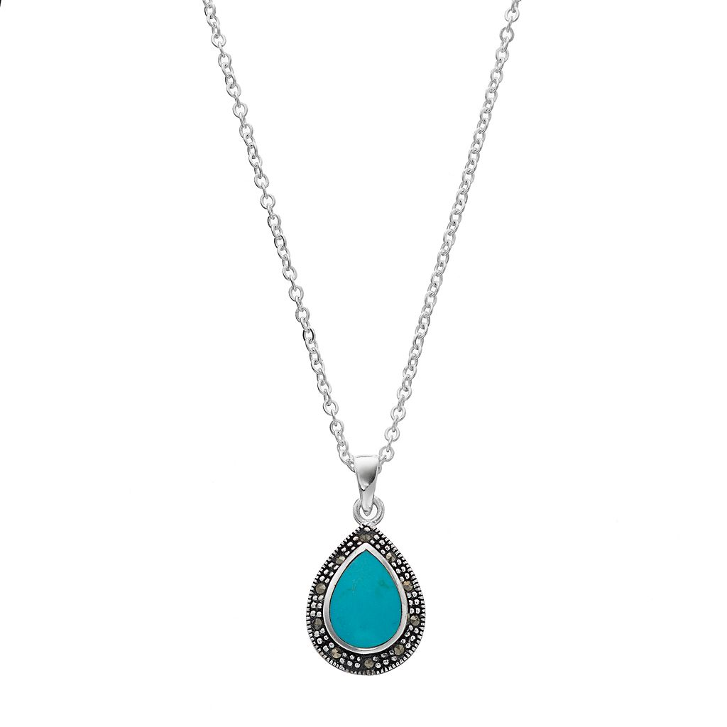 Silver Luxuries Simulated Turquoise & Marcasite Teardrop Pendant Necklace