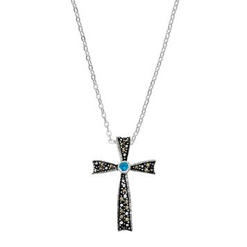 Silver Luxuries London Blue Cubic Zirconia Cross Pendant Necklace