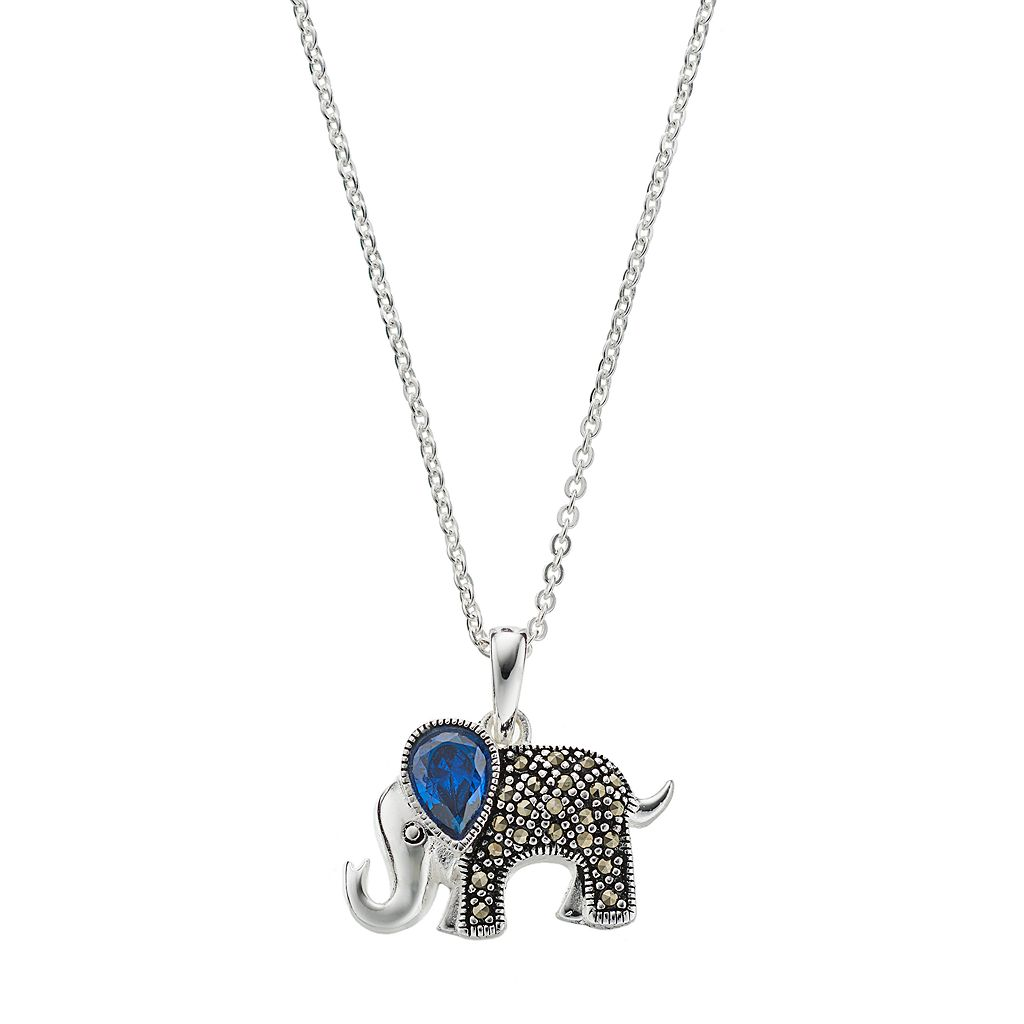 Silver Luxuries Cubic Zirconia & Marcasite Elephant Pendant Necklace
