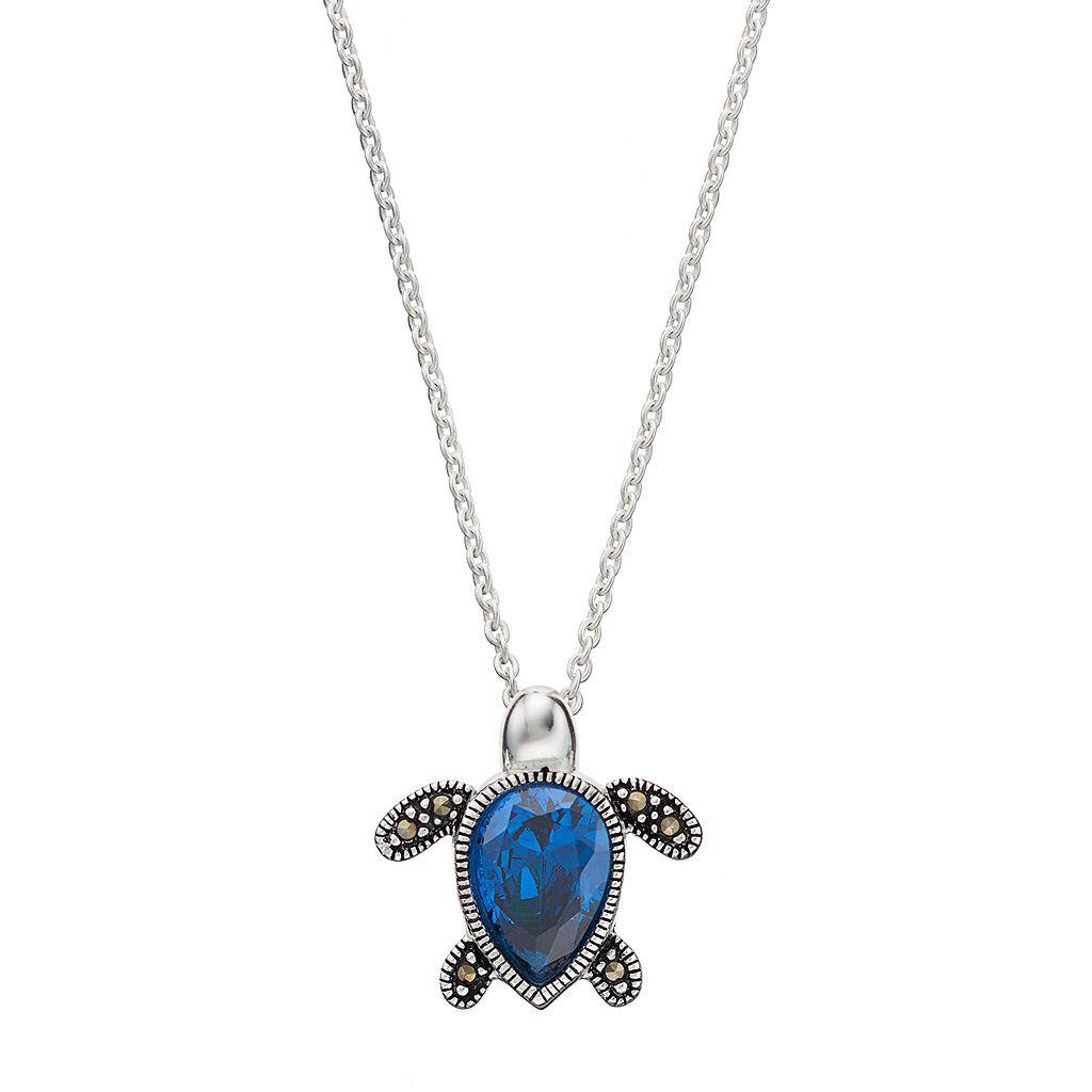 Silver Luxuries Cubic Zirconia & Marcasite Turtle Pendant Necklace