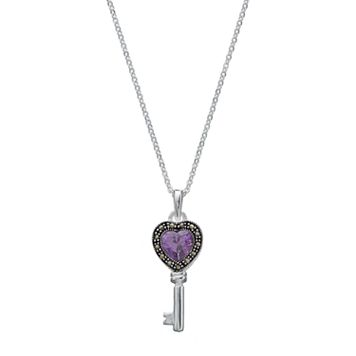 Silver Luxuries Cubic Zirconia & Marcasite Skeleton Key Pendant Necklace