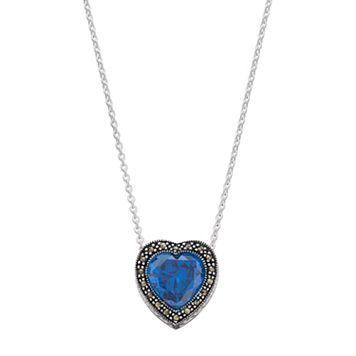 Silver Luxuries Cubic Zirconia & Marcasite Heart Halo Pendant Necklace