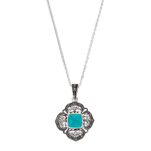 Silver Luxuries Simulated Turquoise & Marcasite Filigree Square Pendant Necklace
