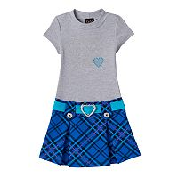 Toddler Girl Lilt Rhinestone Hearts Plaid Mockneck Dress