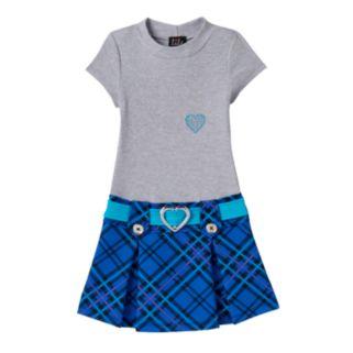 Toddler Girl Lilt Rhinestone Hearts Plaid Mockneck Dress