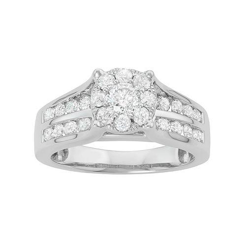 10k White Gold 1 1/6 Carat T.W. Diamond Halo Engagement Ring