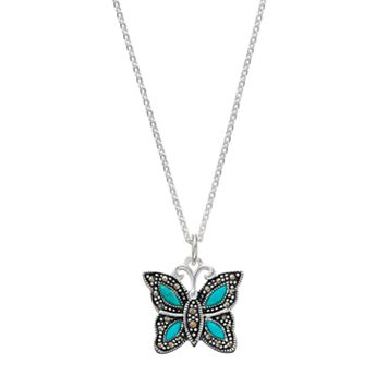 Silver Luxuries Simulated Turquoise & Marcasite Butterfly Pendant Necklace