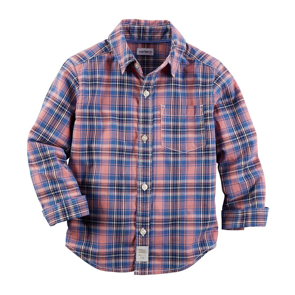 Boys 4-7 Carter's Woven Plaid Patterned Button-Down Shirt