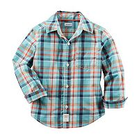 Baby Boy Carter's Woven Plaid Patterned Button-Down Shirt