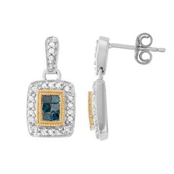 Two Tone 14k Gold 1/2 Carat T.W. Blue & White Diamond Rectangle Drop Earrings