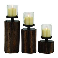 Rustic Traditional Wood Candle Holder 3-piece Set