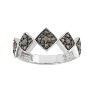 Sterling Silver 1/5 Carat T.W. Black Diamond Geometric Ring